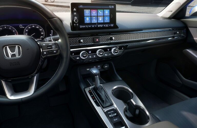 The center stack and gauge cluster in the 2022 Honda Civic.