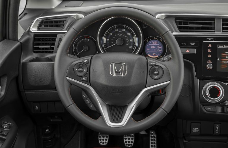 A photo of the center gauge cluster in the 2020 Honda Fit.