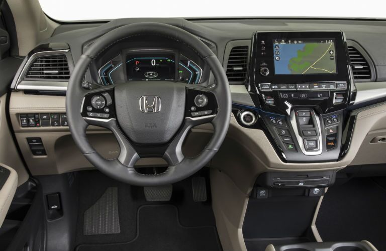 A photo of the driver's cockpit in the 2020 Honda Odyssey.