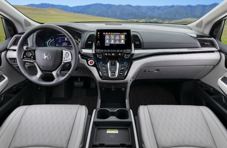 A photo of the dashboard in the 2021 Honda Odyssey.