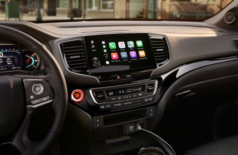 A photo of the touchscreen interface used in the 2020 Honda Passport.