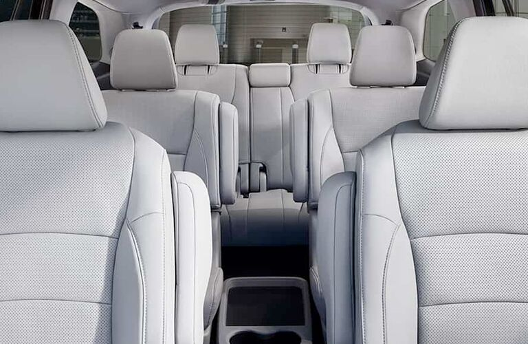 An interior photo of the seating space in the 2019 Honda Pilot.