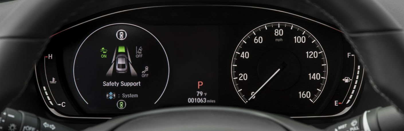 A photo of the center gauge cluster in the 2020 Honda Accord.