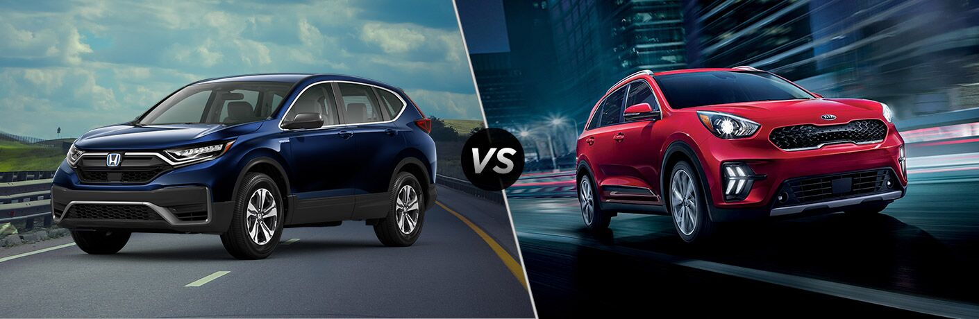 A side-by-side comparison between the 2020 Honda CR-V Hybrid vs. 2020 Kia Niro.