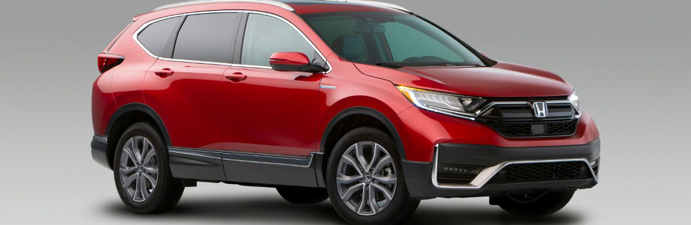 A front right quarter photo of the 2020 Honda CR-V Hybrid.