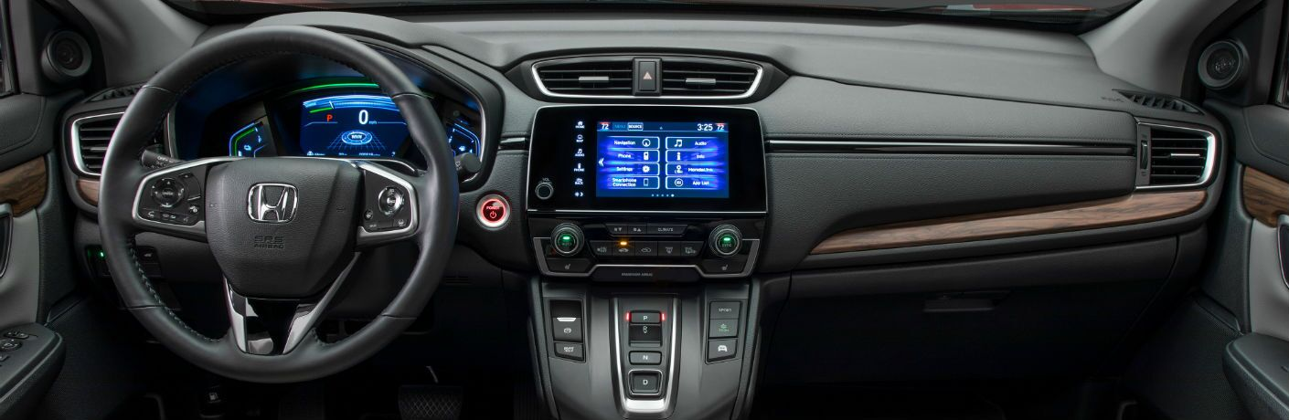 A photo of the dashboard in the 2020 Honda CR-V Hybrid.