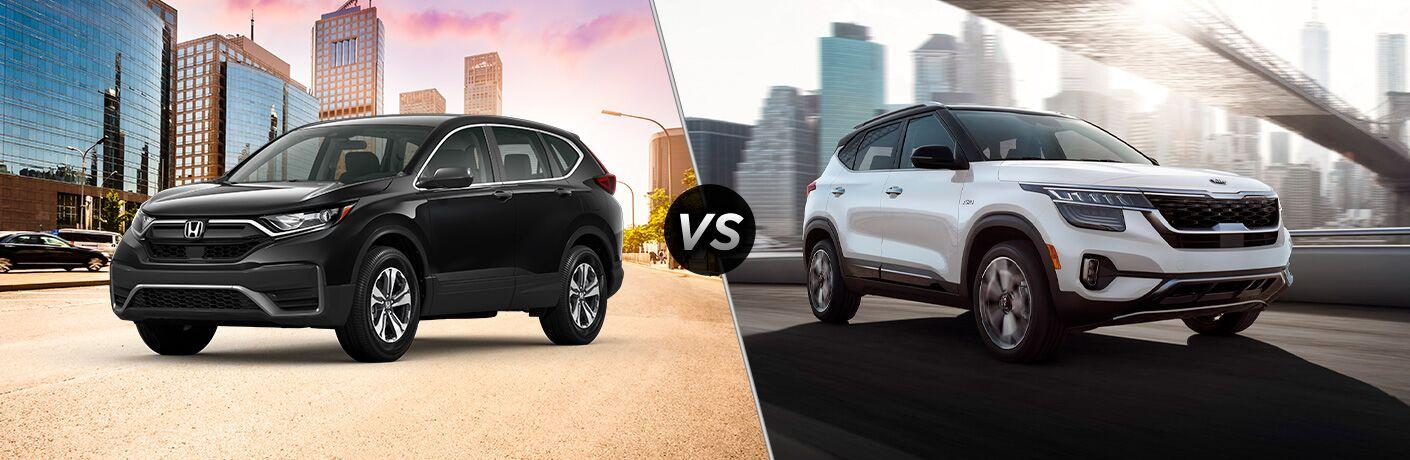 A side-by-side comparison of the 2020 Honda CR-V vs. 2021 Kia Seltos.