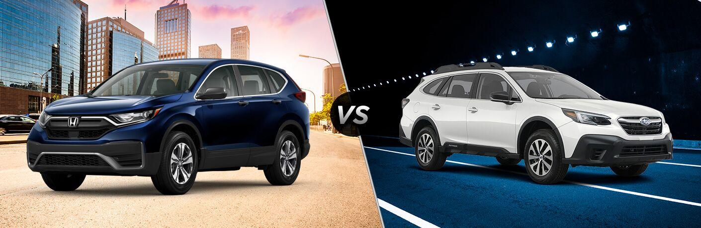A side-by-side comparison of the 2020 Honda CR-V vs. 2020 Subaru Outback.