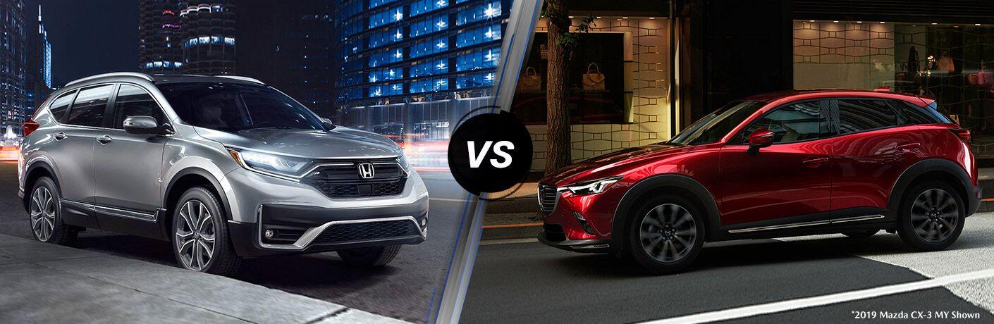 A side-by-side comparison of the 2020 Honda CR-V vs. 2020 Mazda CX-3.