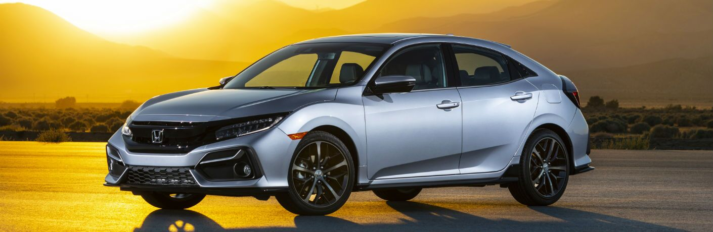 A front left profile photo of the 2020 Honda Civic Hatchback.
