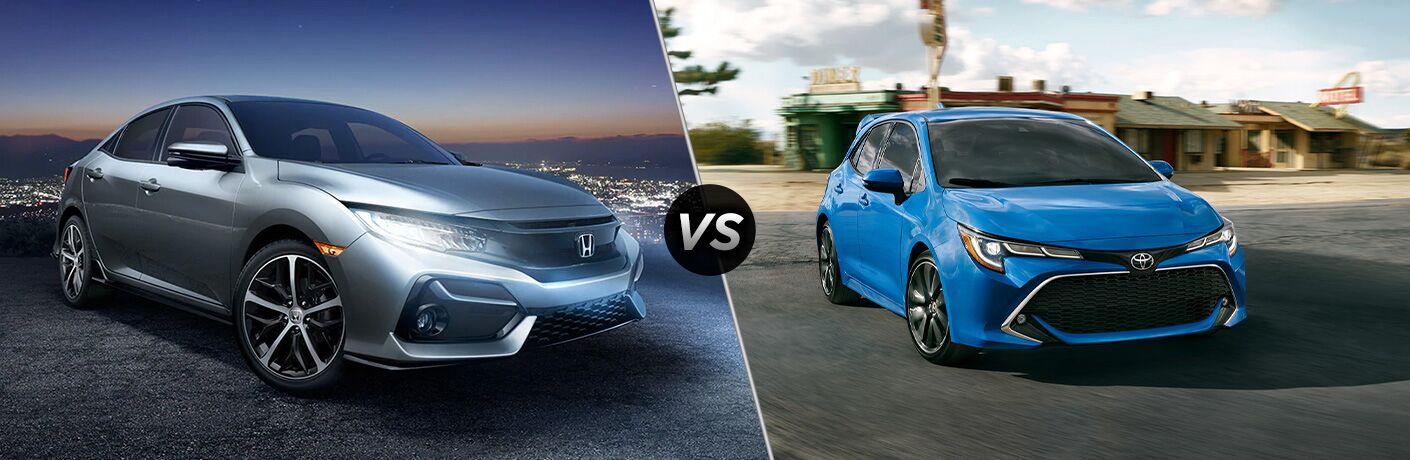 A side-by-side comparison of the 2020 Honda Civic Hatchback vs. 2020 Toyota Corolla Hatchback.