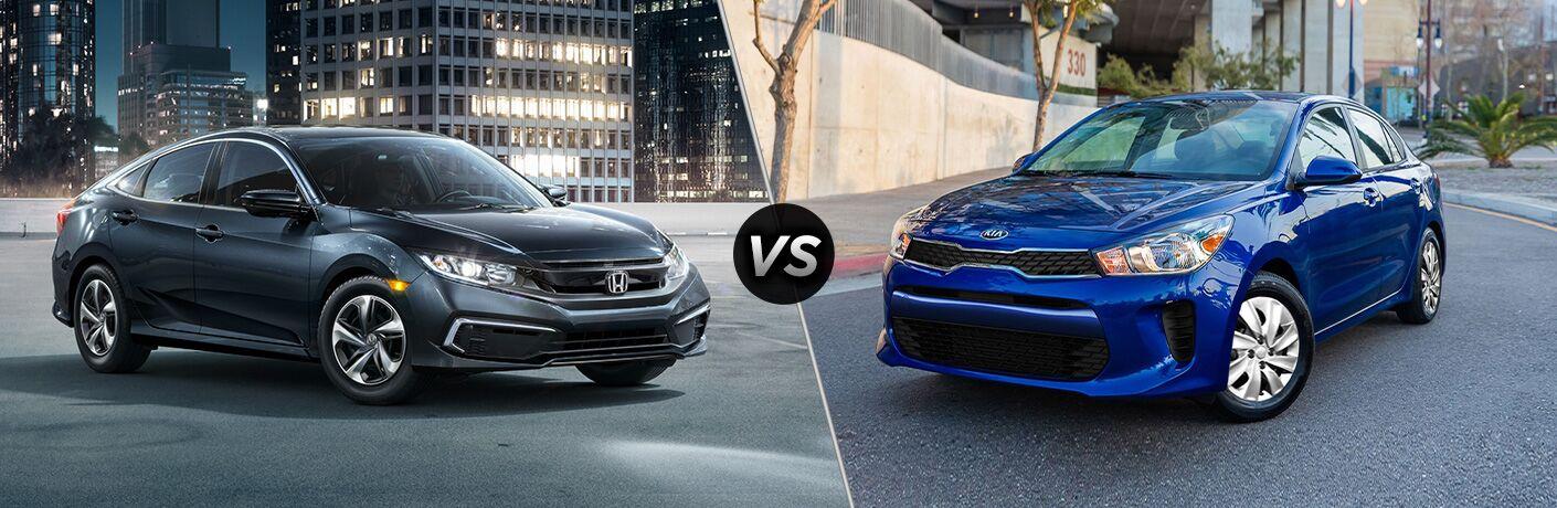 A side-by-side comparison of the 2020 Honda Civic vs. 2020 Kia Rio.