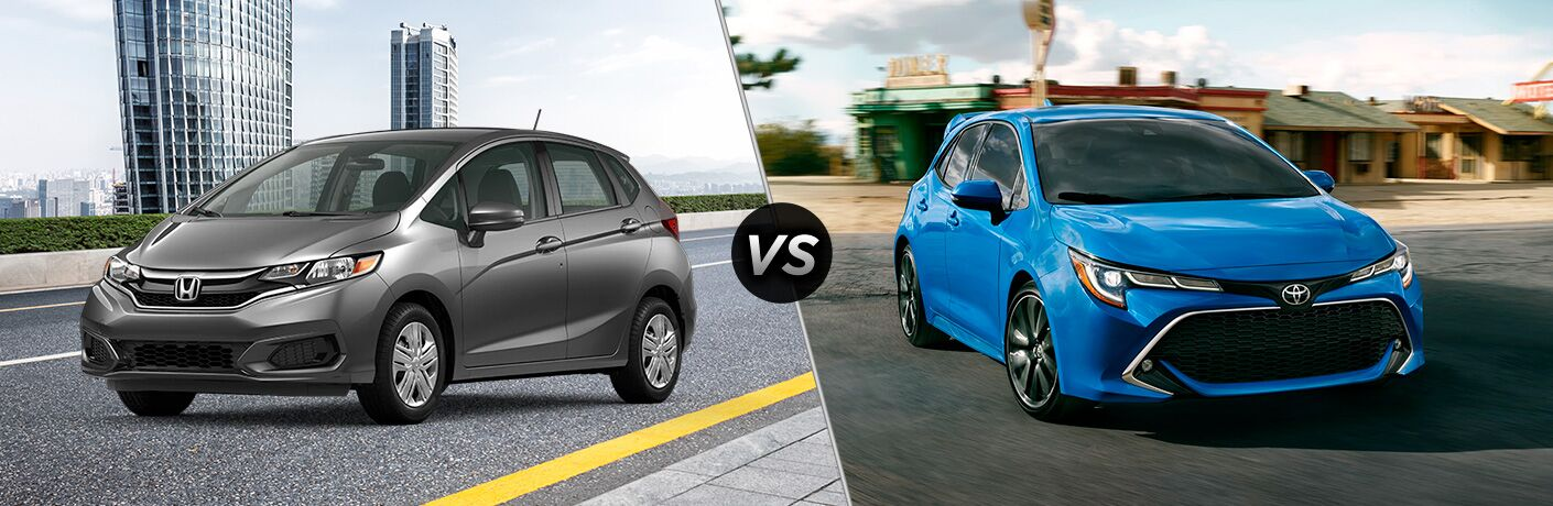 A side-by-side comparison of the 2020 Honda Fit vs. 2020 Toyota Corolla Hatchback.
