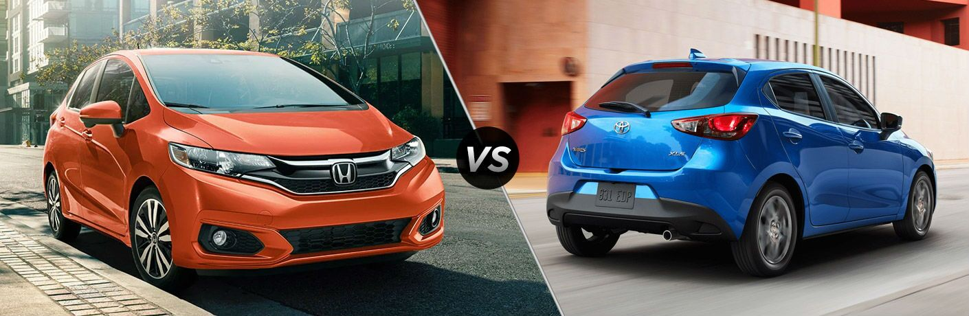 A side-by-side comparison of the 2020 Honda Fit vs. 2020 Toyota Yaris Hatchback.
