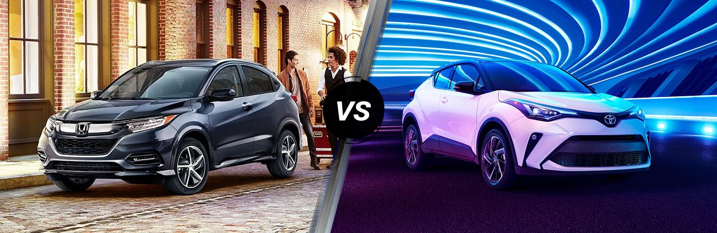 A side-by-side comparison of the 2020 Honda HR-V vs. 2020 Toyota C-HR.