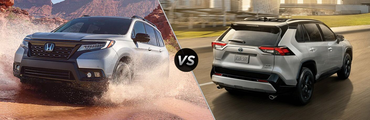 A side-by-side comparison of the 2020 Honda Passport vs. 2020 Toyota RAV4.