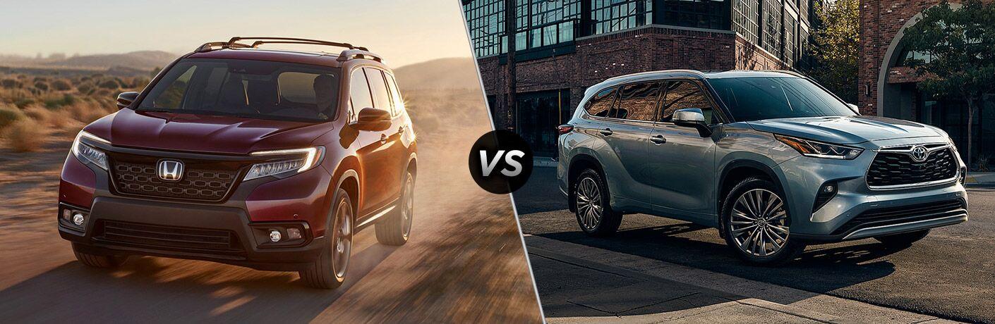 A side-by-side comparison of the 2020 Honda Passport vs. 2020 Toyota Highlander.
