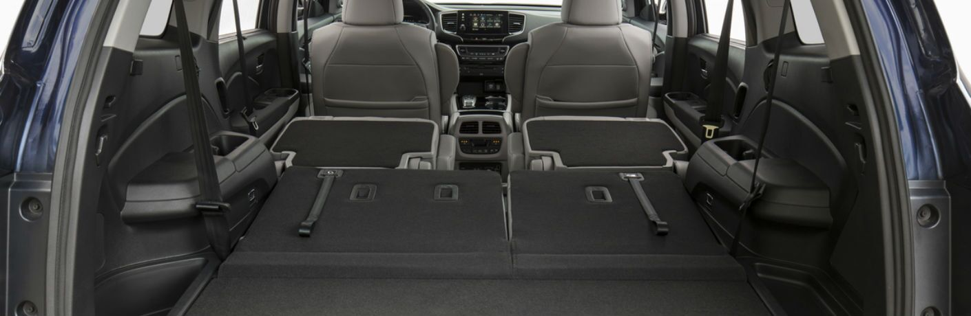 A photo of the maximum available cargo area in the back of the 2020 Honda Pilot.