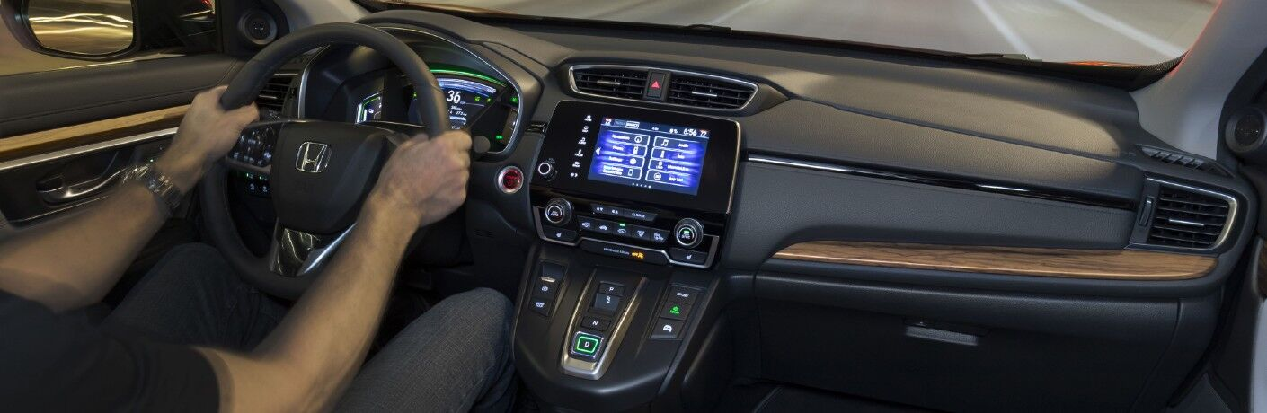 A photo of the dashboard in the 2021 Honda CR-V Hybrid.