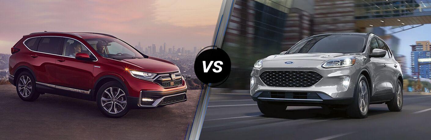 A side-by-side comparison of the 2021 Honda CR-V Hybrid vs. 2021 Ford Escape Hybrid.