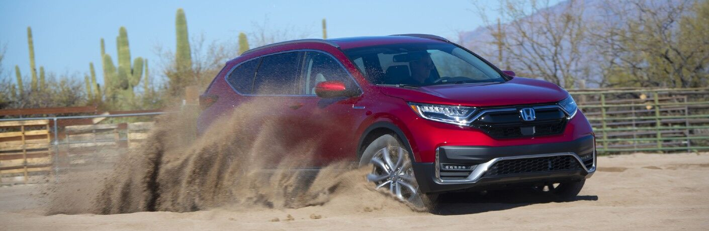 A 2021 Honda CR-V Hybrid kicking up dust.