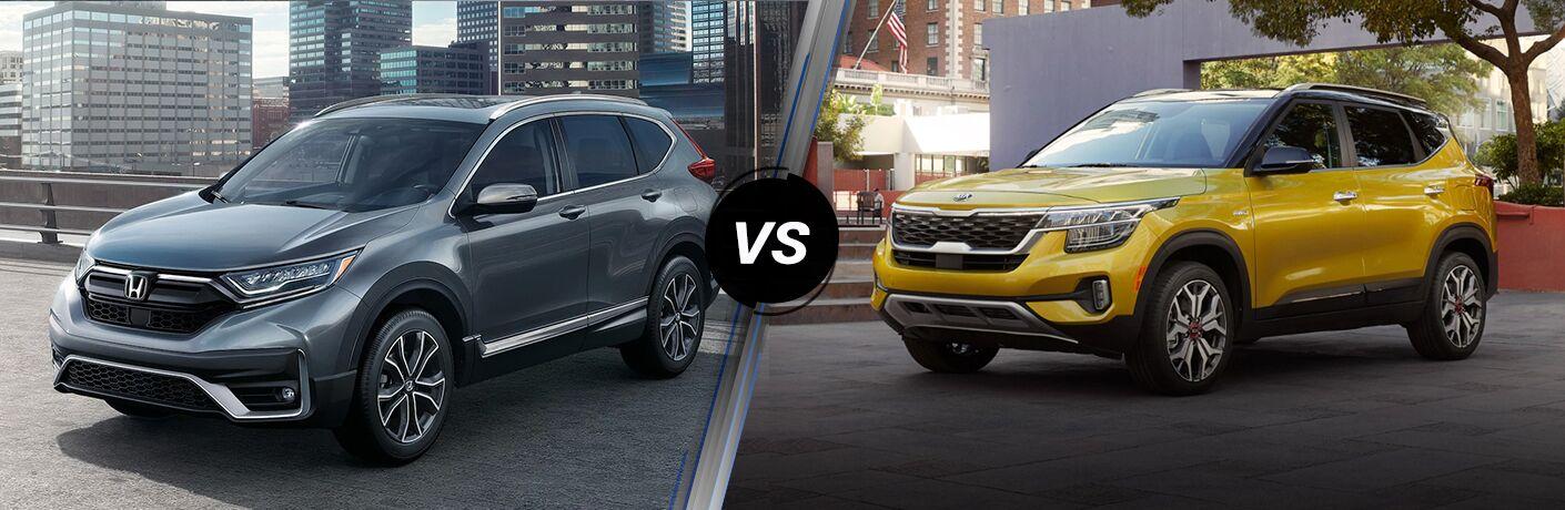 A side-by-side comparison of the 2021 Honda CR-V vs. 2021 Kia Seltos.