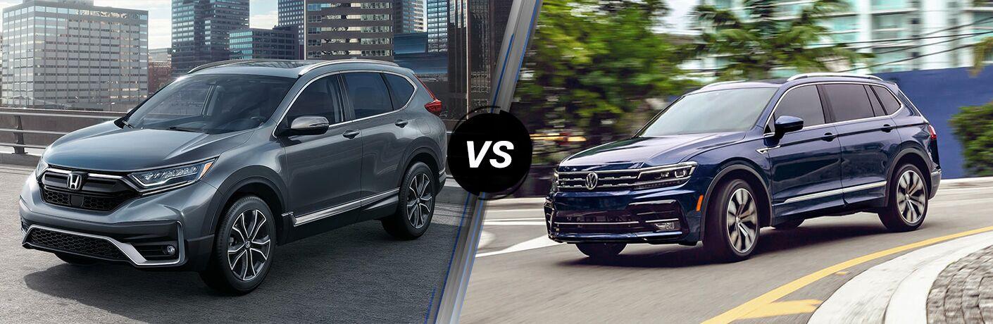 A side-by-side comparison of the 2021 Honda CR-V vs. 2021 Volkswagen Tiguan.