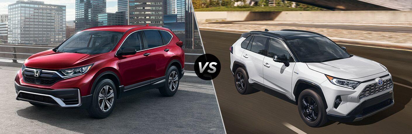 A side-by-side comparison between the 2021 Honda CR-V vs. 2021 Toyota RAV4.