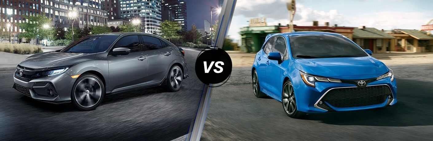 A side-by-side comparison of the 2021 Honda Civic Hatchback vs. 2021 Toyota Corolla Hatchback.