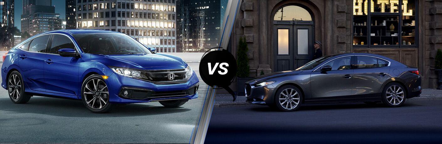A side-by-side comparison of the 2021 Honda Civic Hatchback vs. 2021 Mazda3 Hatchback.