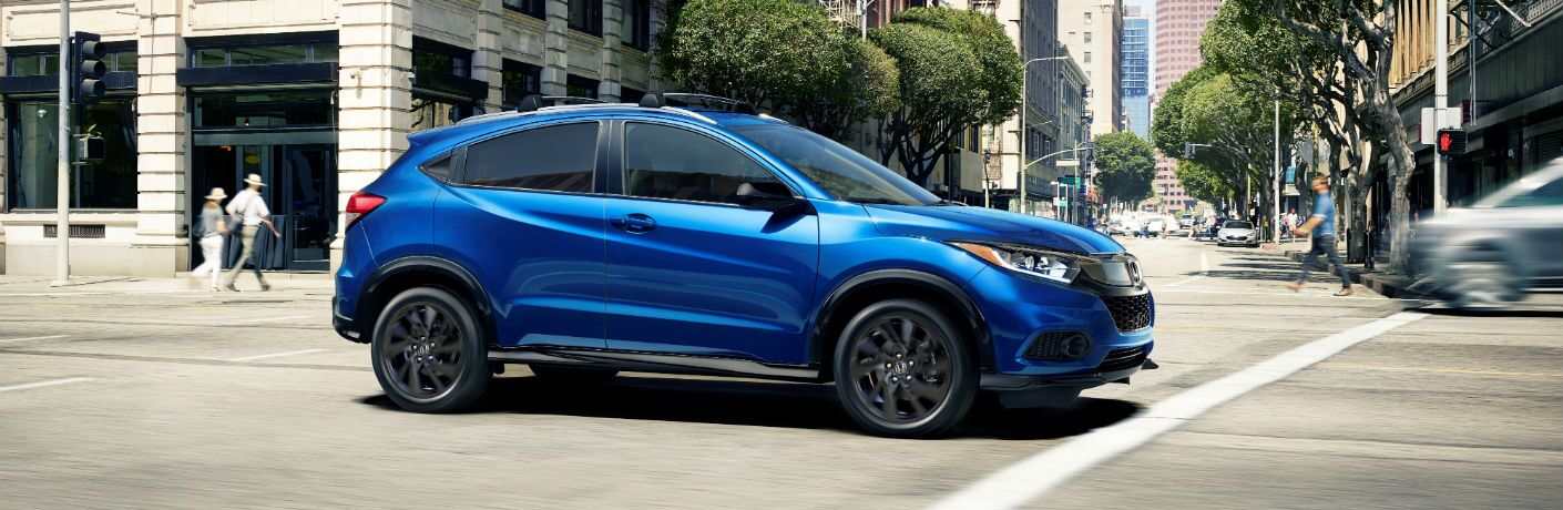 A right profile photo of the 2021 Honda HR-V on the street.