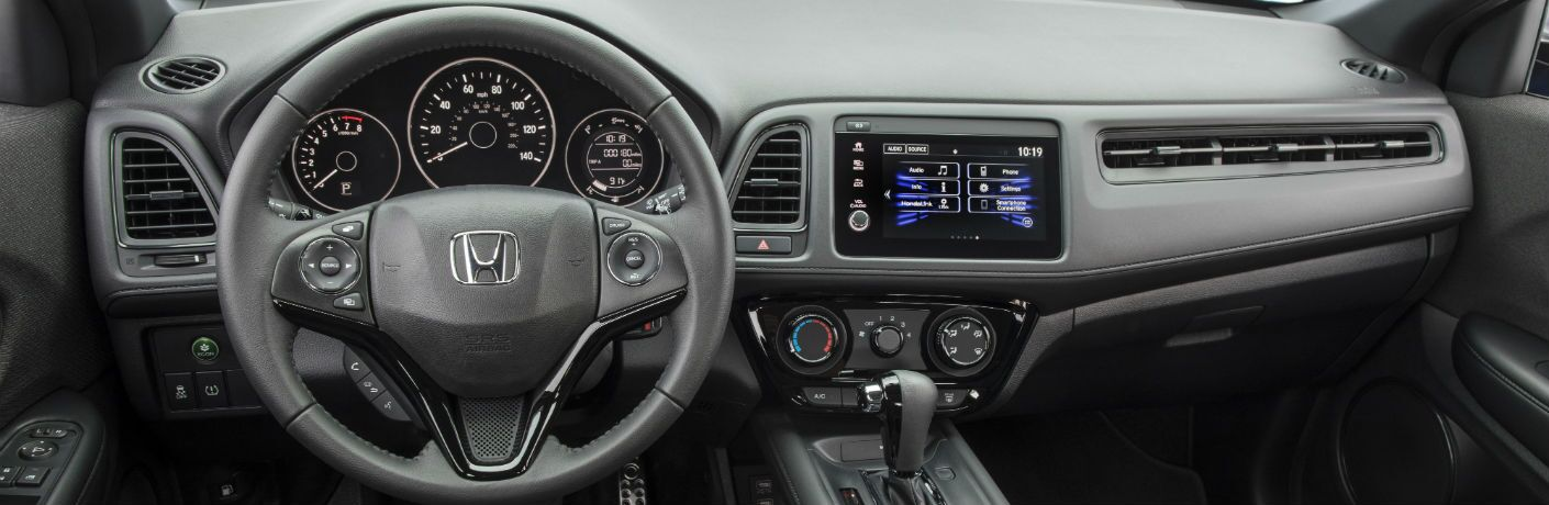 A photo of the driver's cockpit and dashboard in the 2021 Honda HR-V.