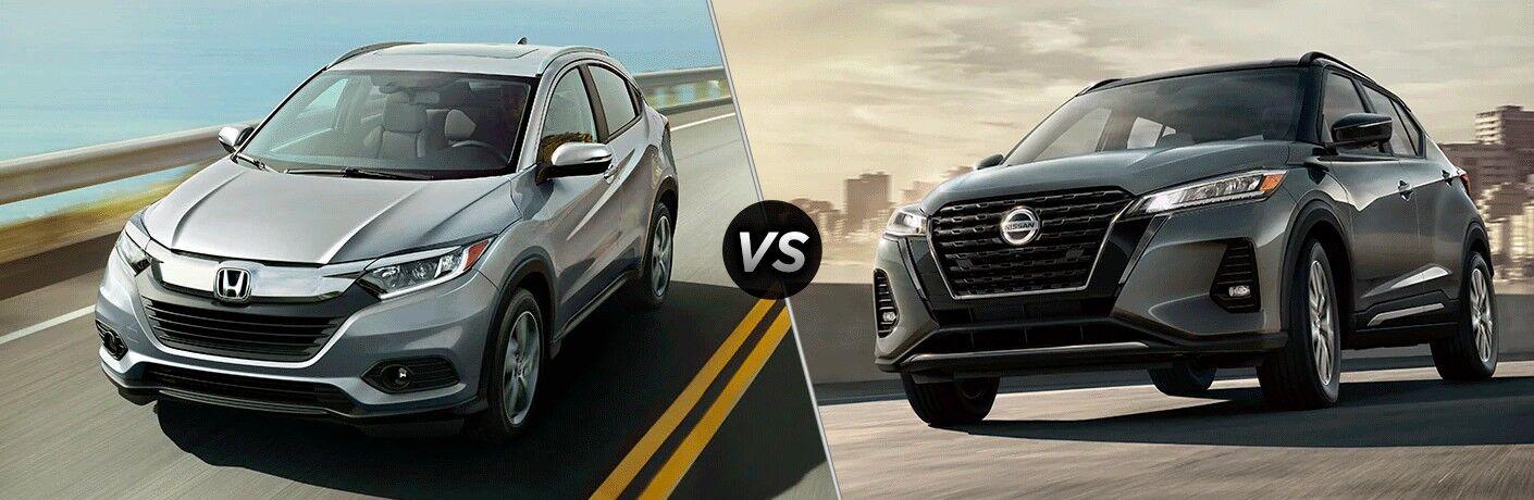 A side-by-side comparison of the 2021 Honda HR-V vs. 2021 Nissan Kicks.