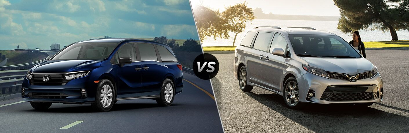A side-by-side comparison of the 2021 Honda Odyssey vs. 2020 Toyota Sienna.