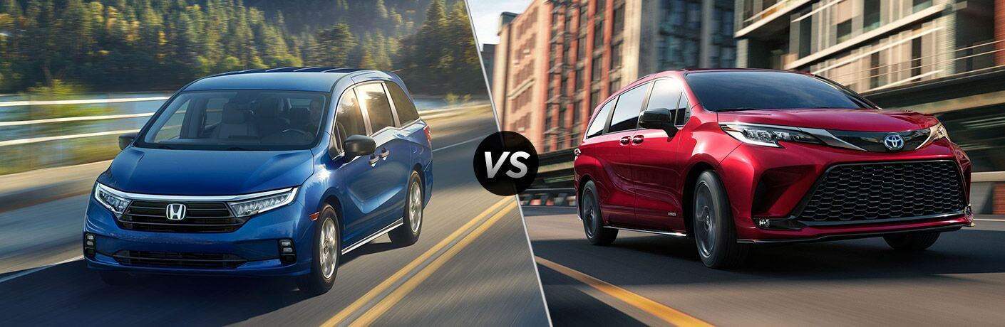 A side-by-side comparison between the 2021 Honda Odyssey vs. 2021 Toyota Sienna.