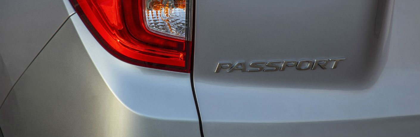 A photo of the Passport badge used by the 2021 Honda Passport.