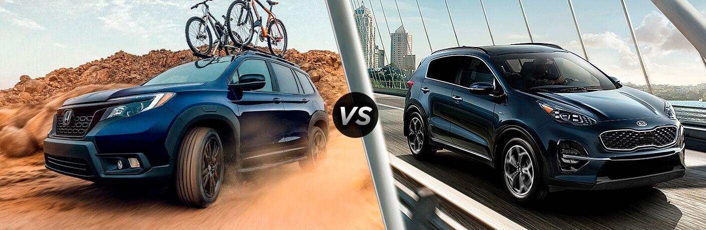 A side-by-side comparison of the 2021 Honda Passport vs. 2022 Kia Sportage.