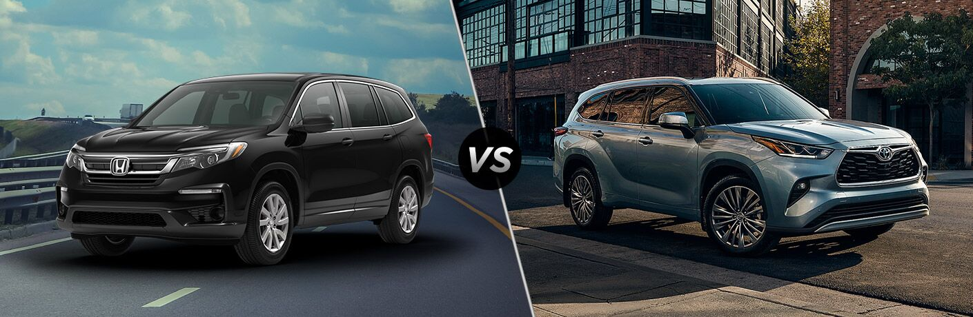 A side-by-side comparison of the 2021 Honda Pilot vs. 2020 Toyota Highlander.