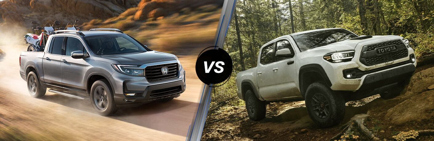 A side-by-side comparison of the 2021 Honda Ridgeline vs. 2021 Toyota Tacoma.