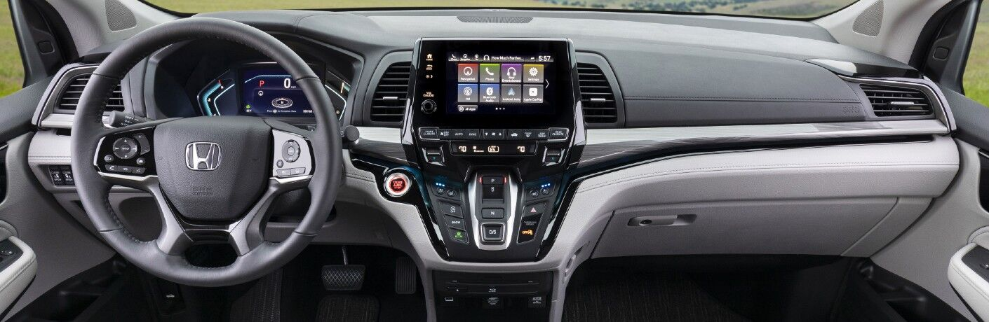A photo of the dashboard in the 2022 Honda Odyssey.