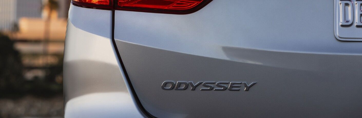 A photo of the Odyssey badged used by the 2022 Honda Odyssey.