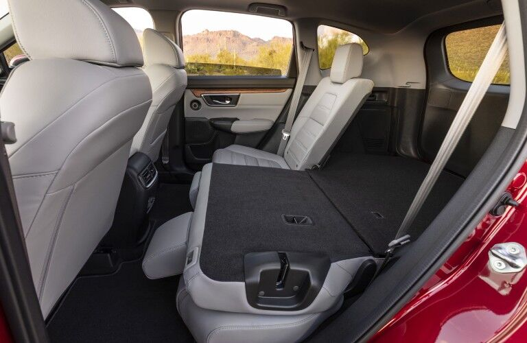The second row of seats folded down in the 2021 Honda CR-V Hybrid.