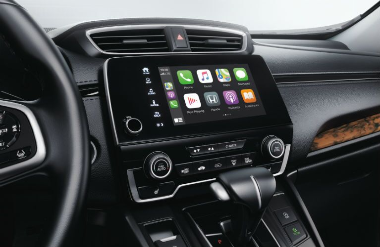 A photo of the touchscreen interface used by the 2021 Honda CR-V.