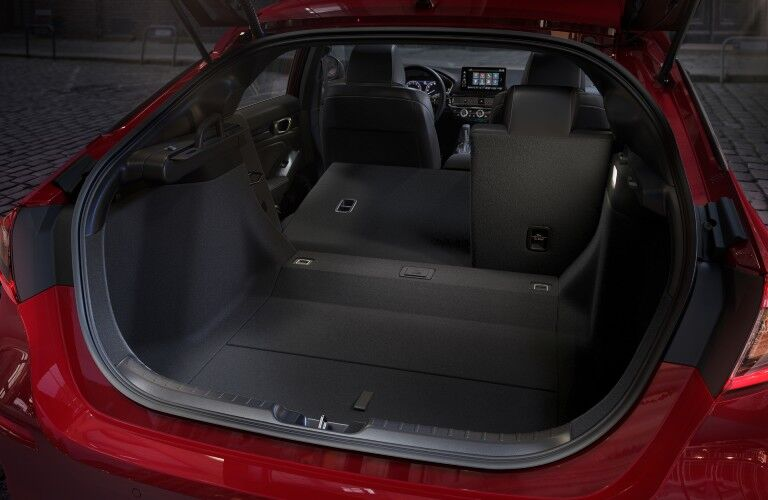 The maximum cargo configuration in the back of the 2022 Honda Civic Hatchback.