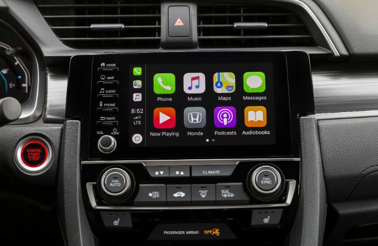A photo of the touchscreen interface used by the 2021 Honda Civic Sedan.