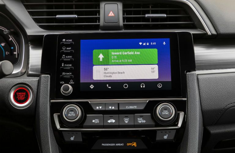 A photo of the touchscreen interface in the 2020 Honda Civic Sedan.
