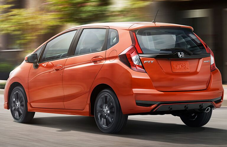 A left rear quarter photo of the 2019 Honda Fit.
