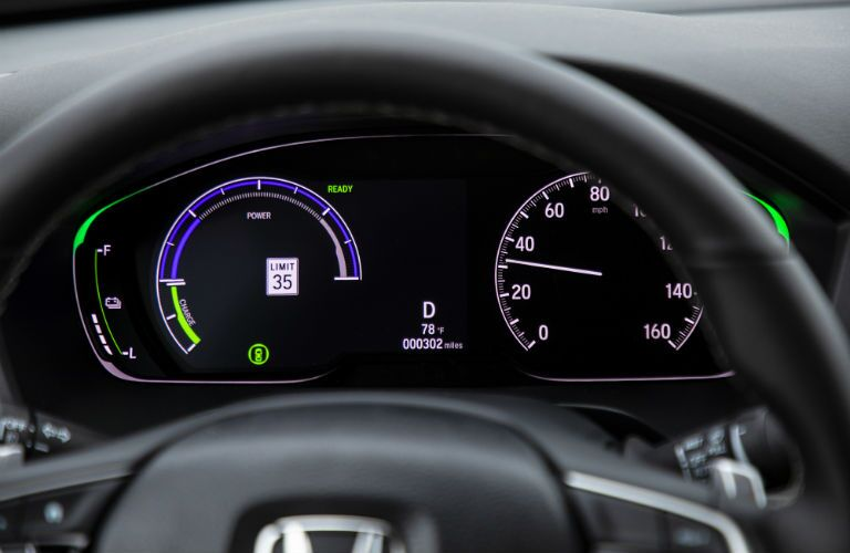 A photo of the center gauge cluster used in the 2020 Honda Insight.
