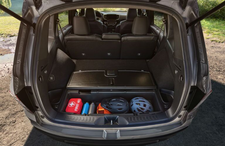 A photo of the 2019 Honda Passport and its available cargo space.