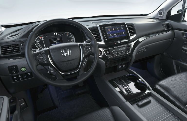 A photo of the driver's cockpit in the 2020 Honda Ridgeline.
